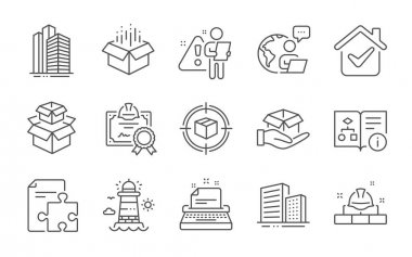Construction bricks, Technical algorithm and Hold box line icons set. Parcel tracking, Buildings and Open box signs. Skyscraper buildings, Packing boxes and Strategy symbols. Line icons set. Vector icon