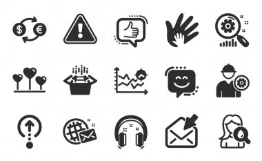 Love heart, Like and Currency exchange icons simple set. Open mail, Search statistics and Packing boxes signs. Smile face, World mail and Swipe up symbols. Flat icons set. Vector icon