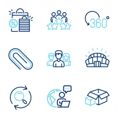 Business icons set. Included icon as Full rotation, Paper clip, Sports stadium signs. Search, Shopping bags, Business meeting symbols. Packing boxes, Teamwork line icons. Line icons set. Vector icon