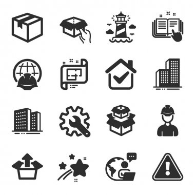 Set of Industrial icons, such as Send box, Foreman, Parcel symbols. Skyscraper buildings, Architectural plan, Customisation signs. Lighthouse, Technical documentation, Packing boxes. Vector icon