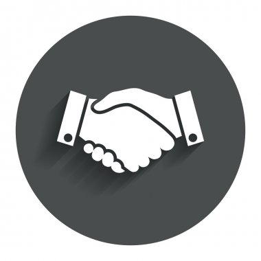 Handshake sign icon. Successful business symbol. Circle flat button with shadow. Modern UI website navigation. Vector stock vector