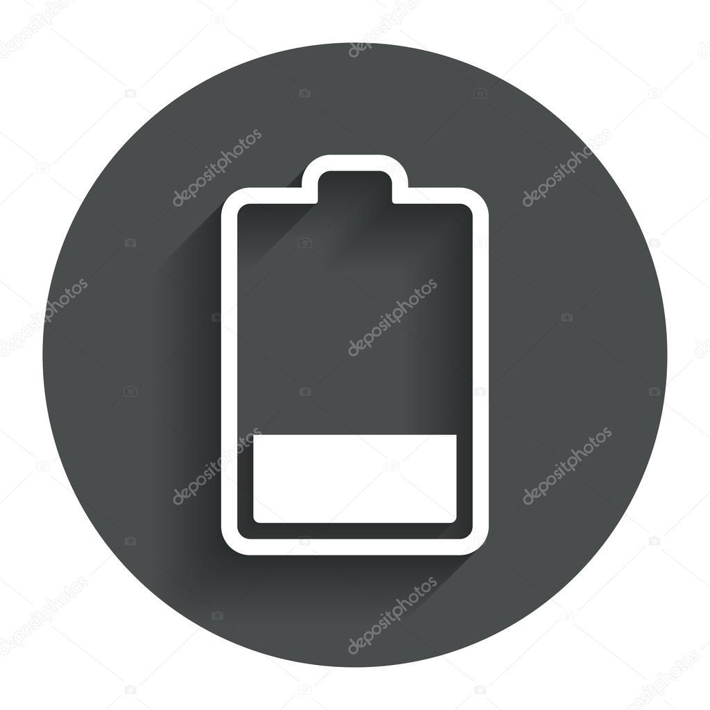 Batterie niedrigen Niveau Symbol. Strom Symbol — Stockvektor ...