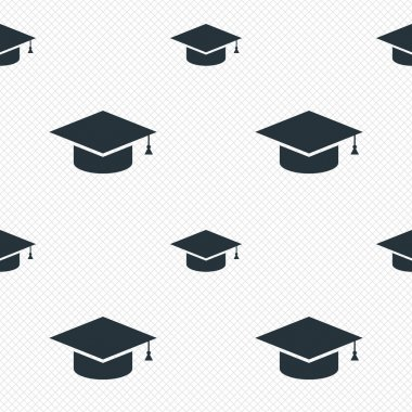 Graduation cap sign icon. Higher education symbol. Seamless grid lines texture. Cells repeating pattern. White texture background. Vector clip art vector