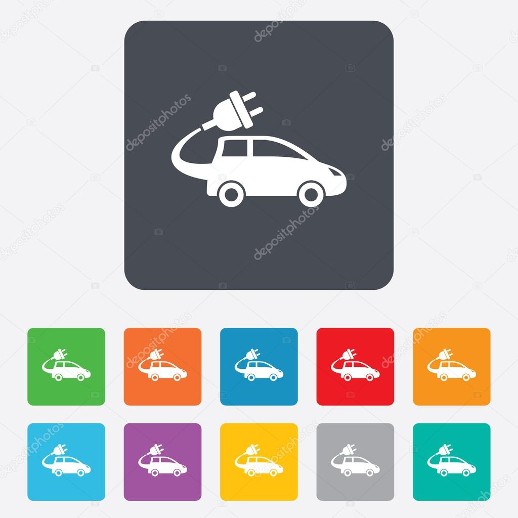 Elektroauto-Schild-Symbol. Schrägheck-symbol — Stockvektor ...