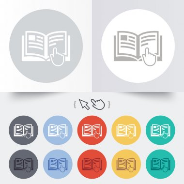 Instruction sign icon. Manual book symbol. Read before use. Round 12 circle buttons. Shadow. Hand cursor pointer. Vector stock vector