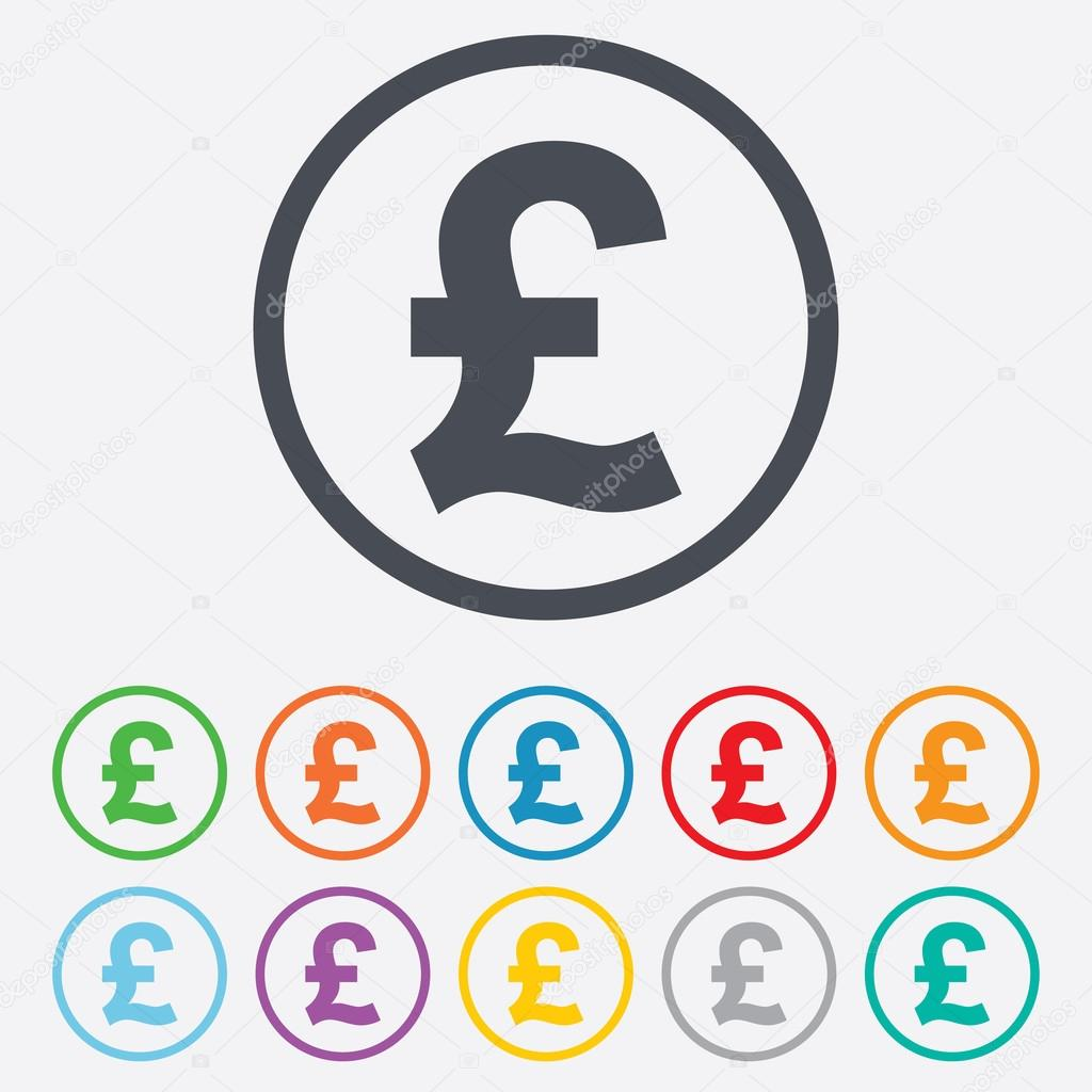 Pound sign icon gbp currency symbol stock vector blankstock pound sign icon gbp currency symbol money label round circle buttons with frame vector vector by blankstock buycottarizona Choice Image
