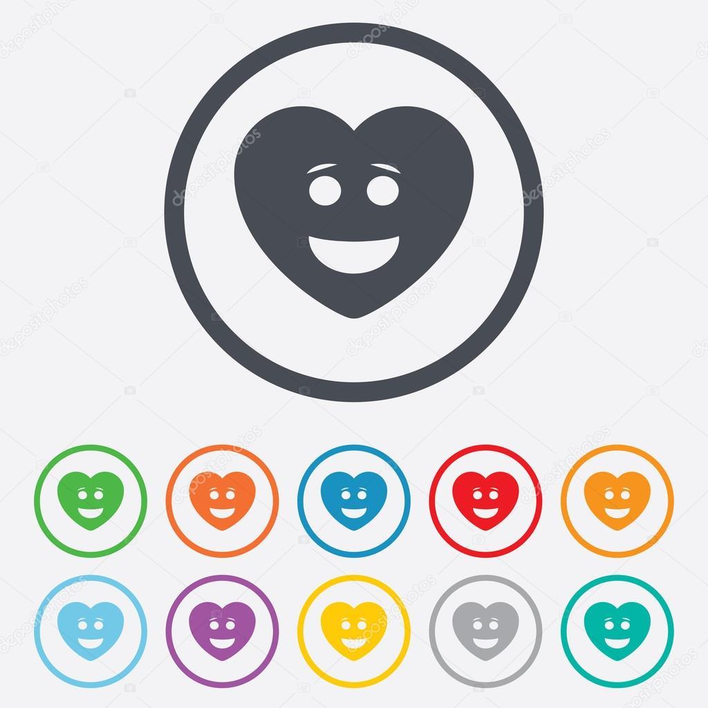 Smile Heart Face Icon. Smiley Symbol.