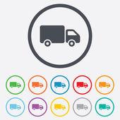 doručení auta znamení ikona. Cargo van symbolu