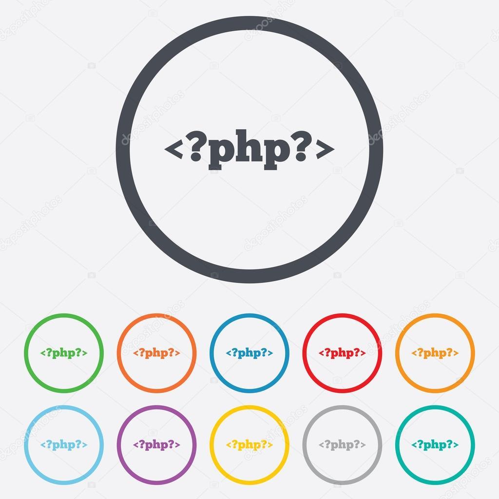 Cone de sinal de php smbolo de linguagem de programao vetores php sign icon programming language symbol round circle buttons with frame vector vetor de blankstock ccuart Choice Image