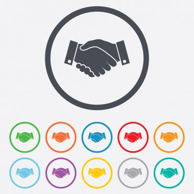 Handshake sign icon. Successful business symbol. Round circle buttons with frame. Vector stock vector