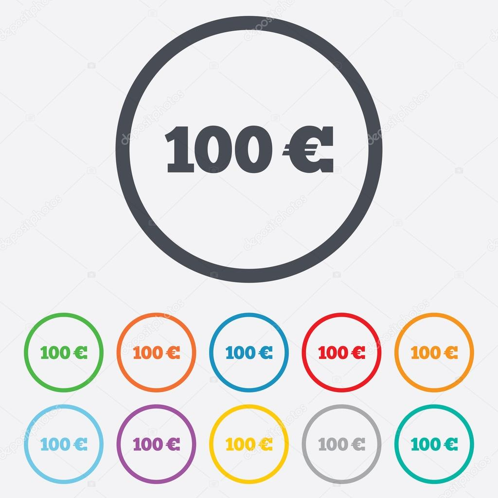 100 euro sign icon eur currency symbol stock vector 100 euro sign icon eur currency symbol money label round circle buttons with frame vector vector by blankstock biocorpaavc