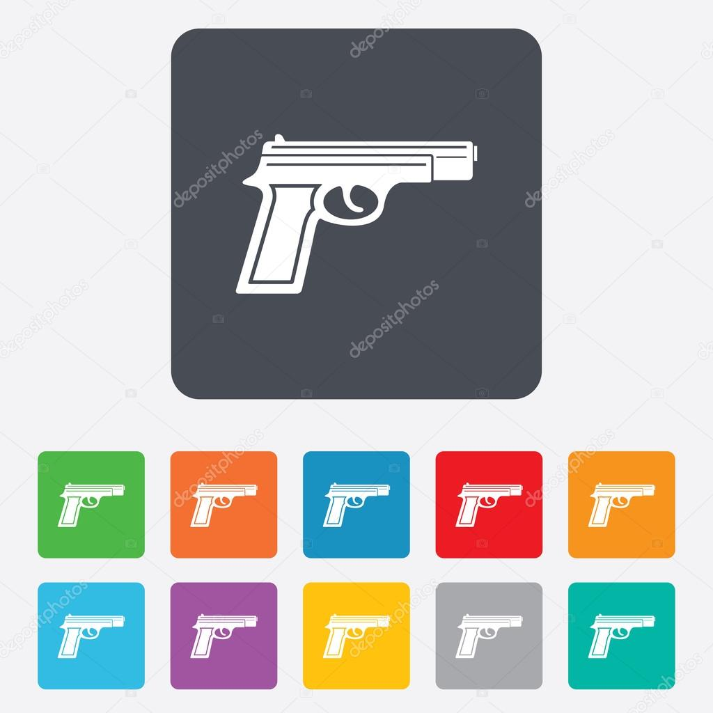 Gun sign icon firearms weapon symbol stock vector blankstock gun sign icon firearms weapon symbol rounded squares 11 buttons vector vector by blankstock biocorpaavc