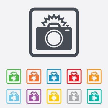 Photo camera sign icon. Photo flash symbol.