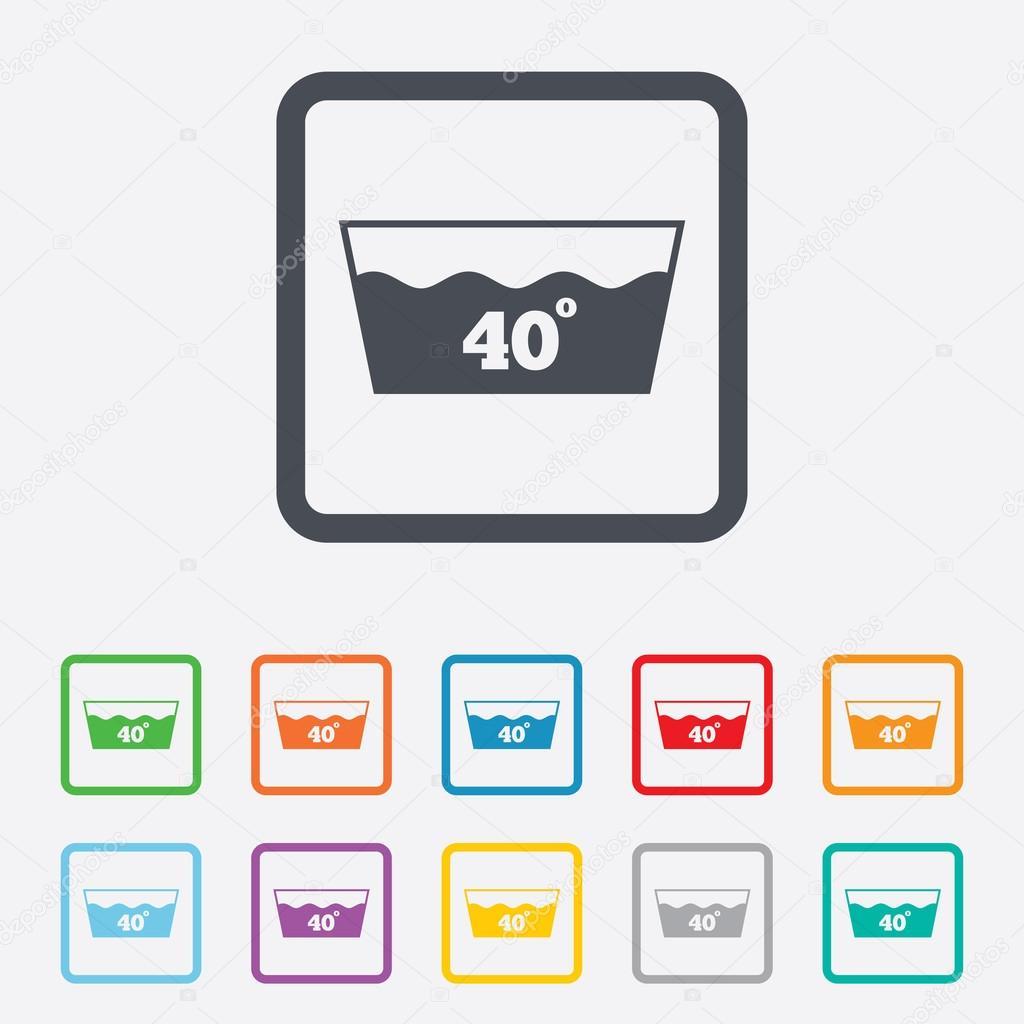 Wash Icon Machine Washable At 40 Degrees Symbol Stock Vector