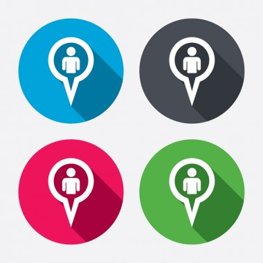 Map pointer user sign icons
