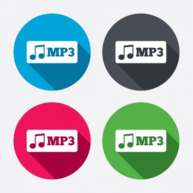 Mp3 music format sign icons