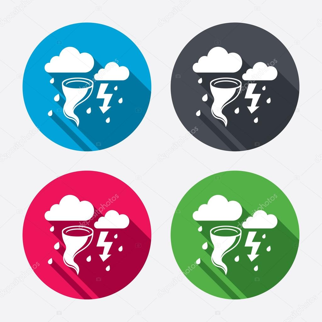 Storm bad weather signs icons. Gale hurricane.