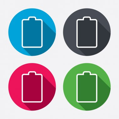 Battery empty sign icons