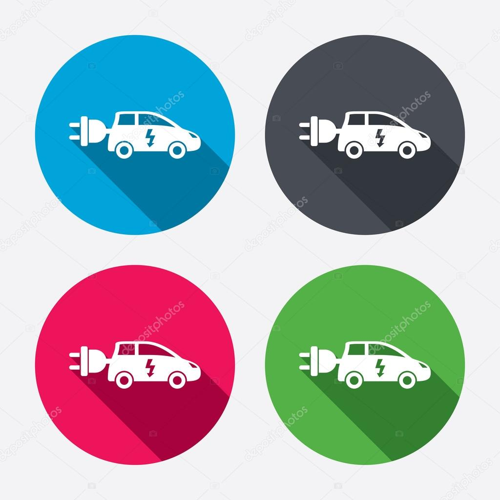 Electric car sign icons