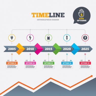 Timeline infographic with arrows. Electric plug icon. Fluorescent lamp and battery symbols. Low electricity and idea signs. Five options with hand. Growth chart. Vector stock vector