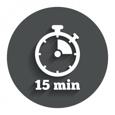 15 minutes stopwatch symbol.