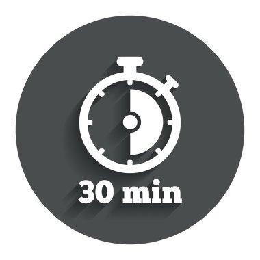 30 minutes stopwatch symbol.