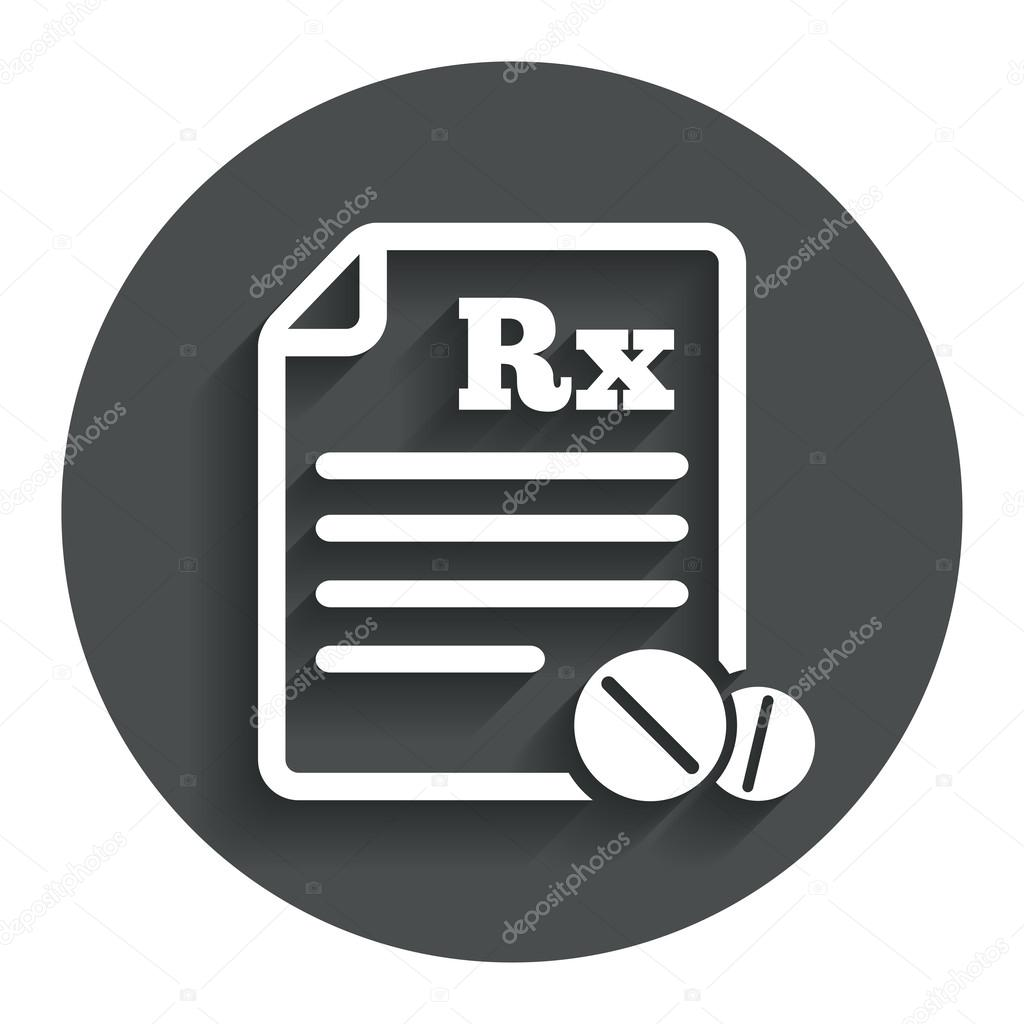 Cono de rx de prescripcin mdica vector de stock blankstock medical prescription rx sign icon pharmacy or medicine symbol with round tablets gray flat button with shadow modern ui website navigation buycottarizona