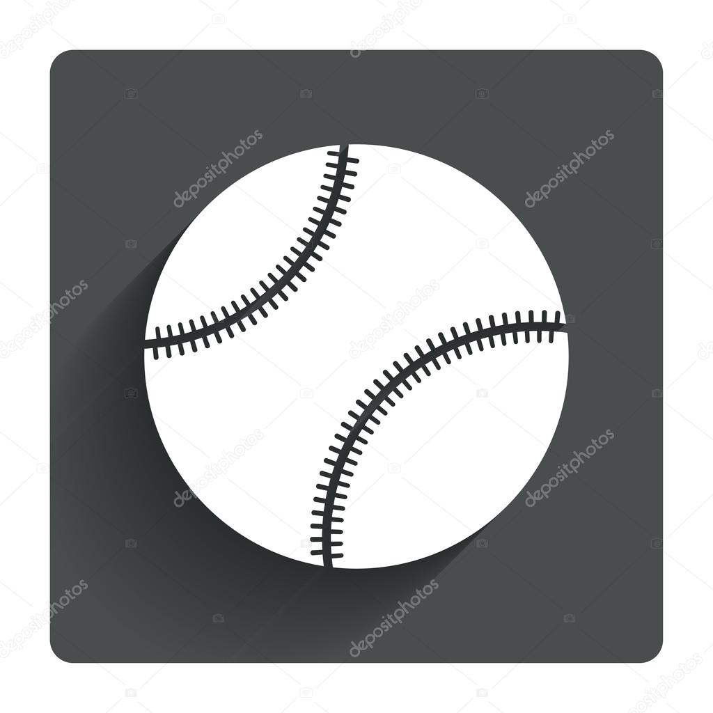 242a0b51bb74f Baseball ball sign icon. Sport symbol. Gray flat square button with shadow.  Modern UI website navigation. Vector — Vector by Blankstock