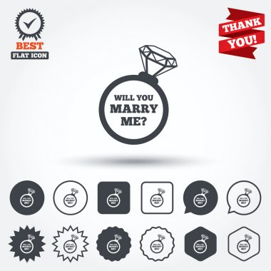 Marry me ring sign icons