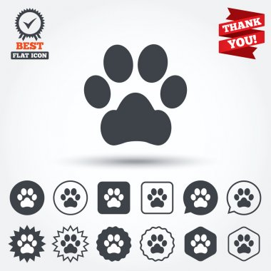 Dog paw sign icons