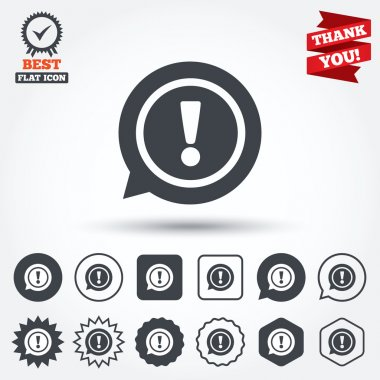 Exclamation mark sign icons