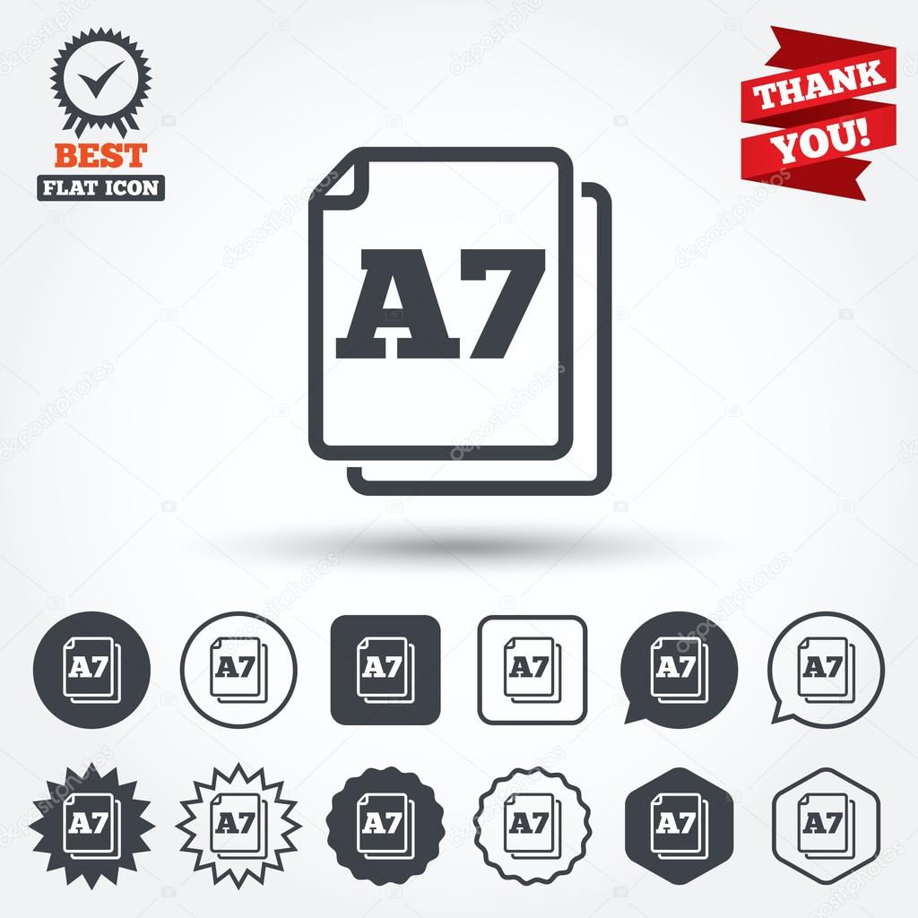 Paper size A7 standard icons — Stock Vector © Blankstock