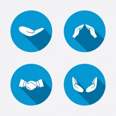 Handshake and insurance symbols.