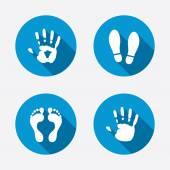 Fotografie Händen und Füßen Symbole drucken