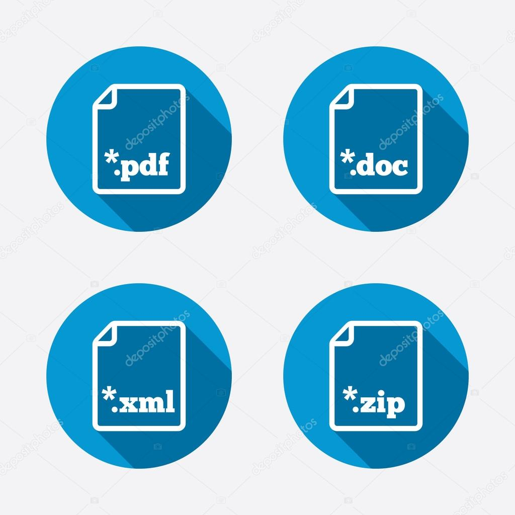 Document Signs File Extensions Symbols Stock Vector C Blankstock