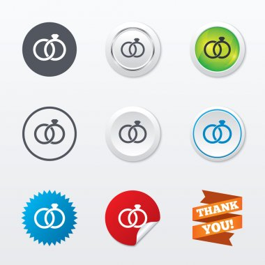 Wedding rings sign icons