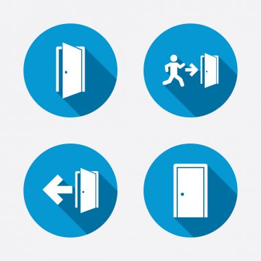 Emergency exit with arrow symbols