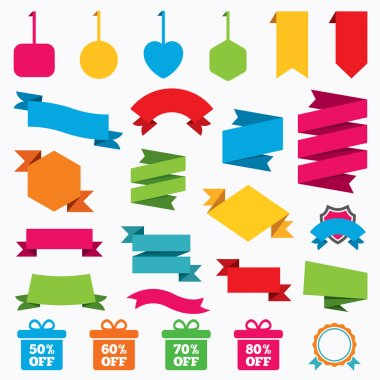 Sale gift box tag icons.