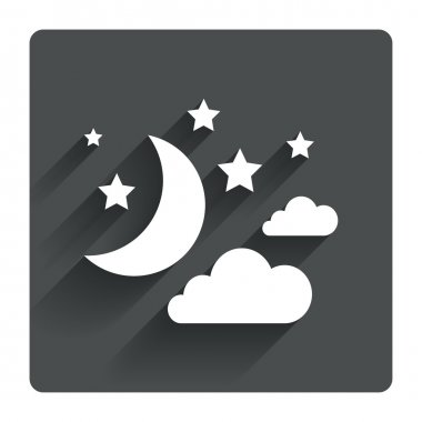 Moon, clouds and stars sign icons