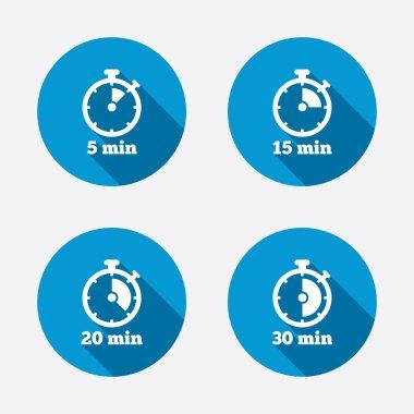 Five minutes stopwatch symbols