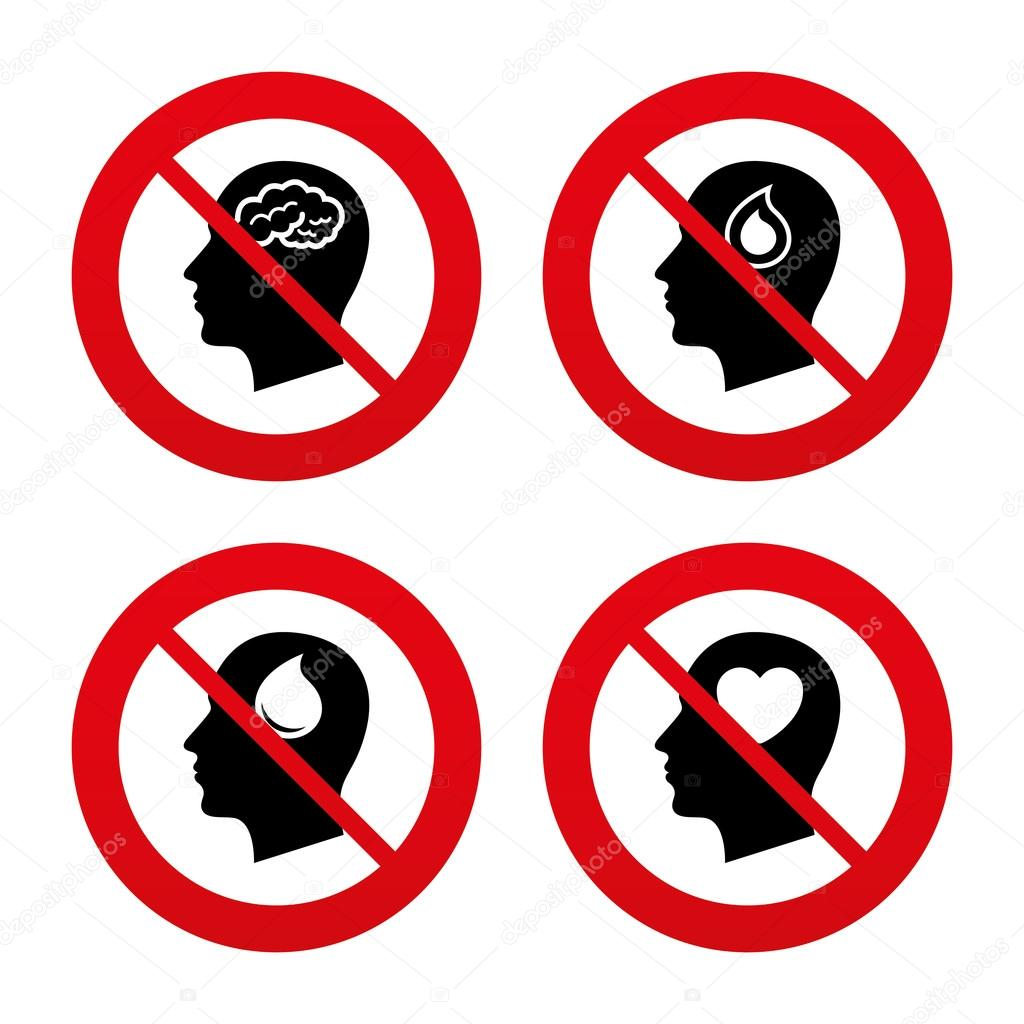 Male human think symbols stock vector blankstock 71524721 no ban or stop signs head with brain icon male human think symbols blood drop donation sign love heart prohibition forbidden red symbols biocorpaavc