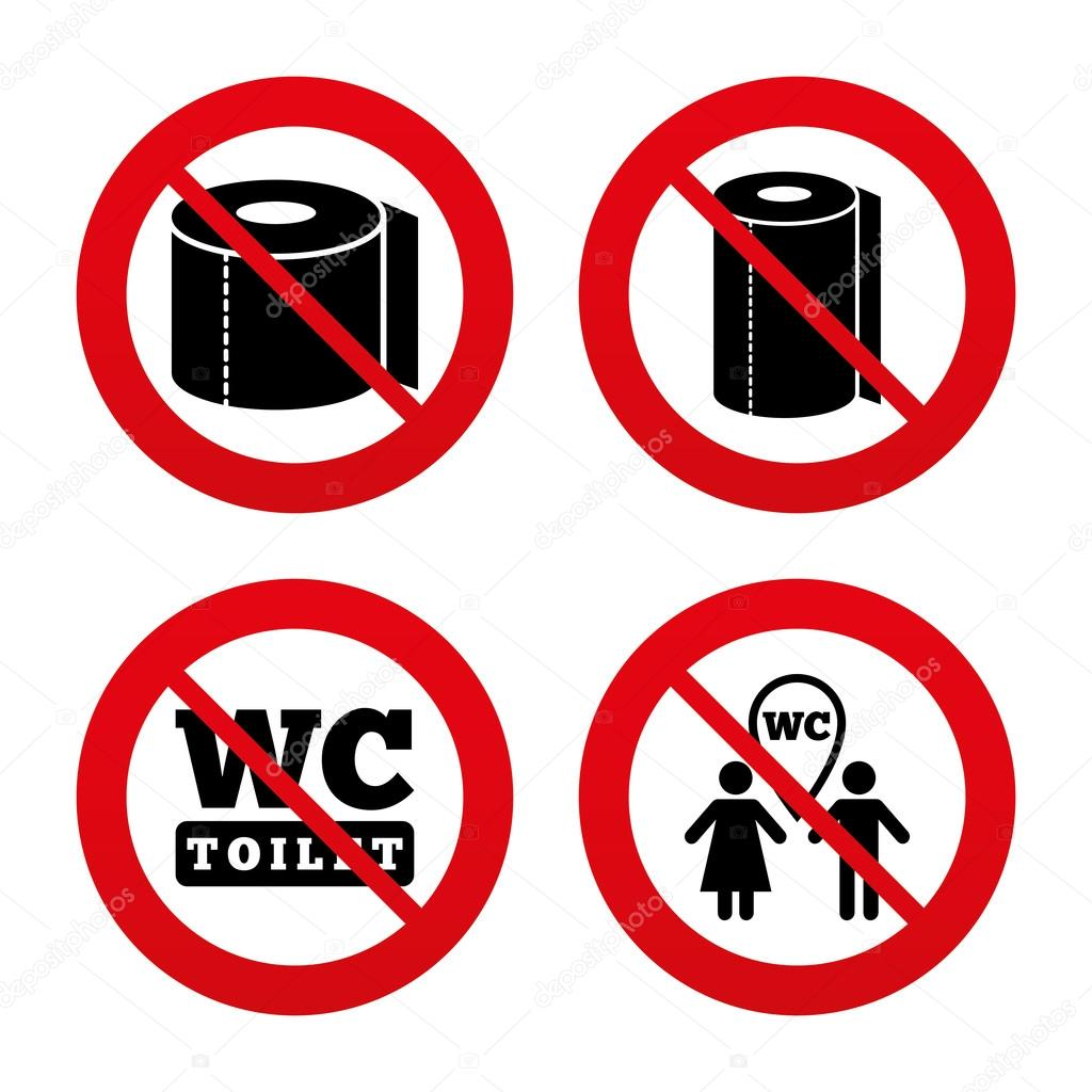 Toilet paper icons stock vector blankstock 71532185 no ban or stop signs toilet paper icons gents and ladies room signs paper towel or kitchen roll man and woman symbols buycottarizona Choice Image