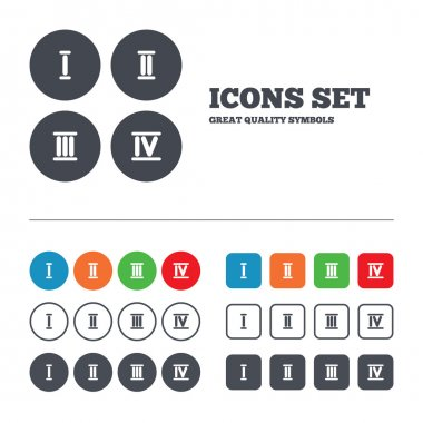 Roman numeral icons.