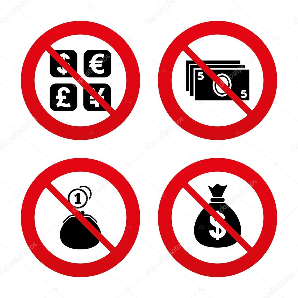 Currency exchange icons stock vector blankstock 72599323 currency exchange icon cash money bag and wallet with coins signs dollar euro pound yen symbols prohibition forbidden red symbols biocorpaavc Gallery