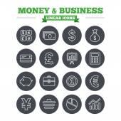 Peníze a obchodní lineární ikony nastavit.