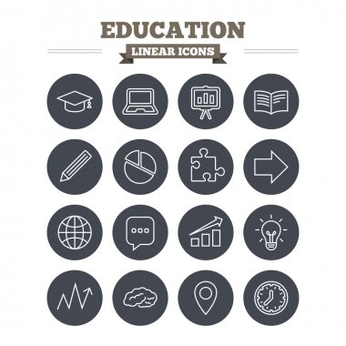 Education linear icons set.