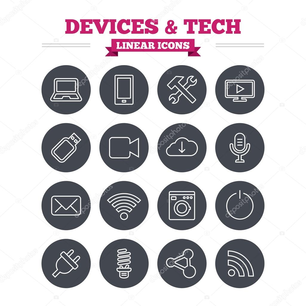 Devices and technologies linear icons set.