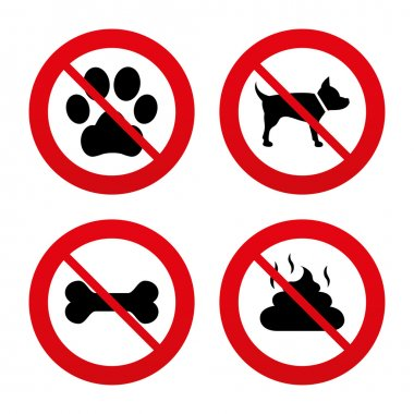 Dog paw and feces signs.