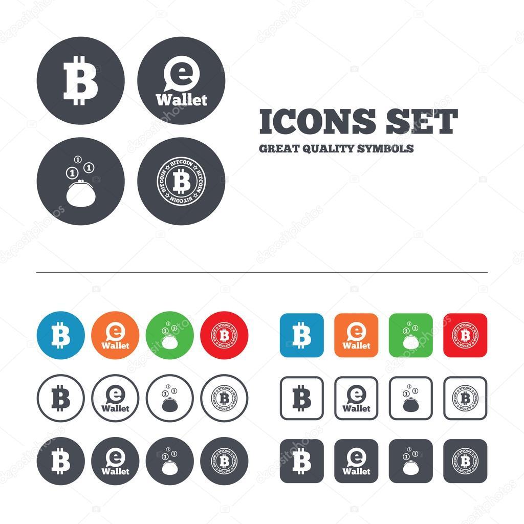 Bitcoin-Symbole. Elektronische Geldbörse-symbol — Stockvektor ...