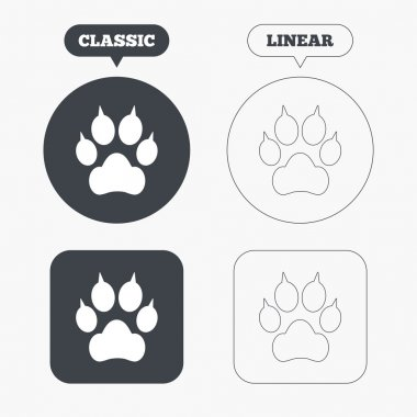 Dog paw with clutches sign icons